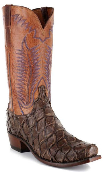 Lucchese MURPHY N1145.73 Mens Chocolate Brown Shag Pirarucu Boots Size 9 D STALL STOCK