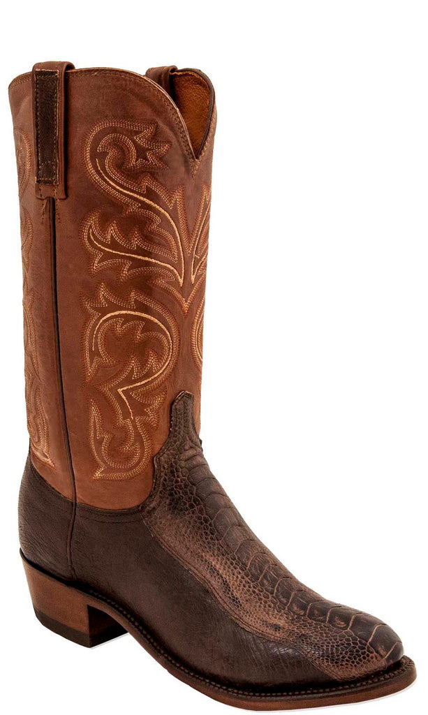 Lucchese N1146.74 NICK Mens Chocolate Burnished Ostrich Leg Boots