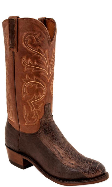 Lucchese NICK N1146 Mens Chocolate Burnished Ostrich Leg Boots