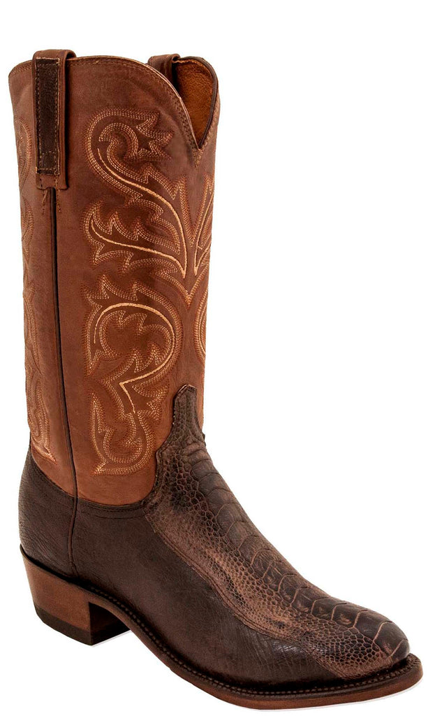Lucchese N1146.R4 NICK Mens Chocolate Burnished Ostrich Leg Boots