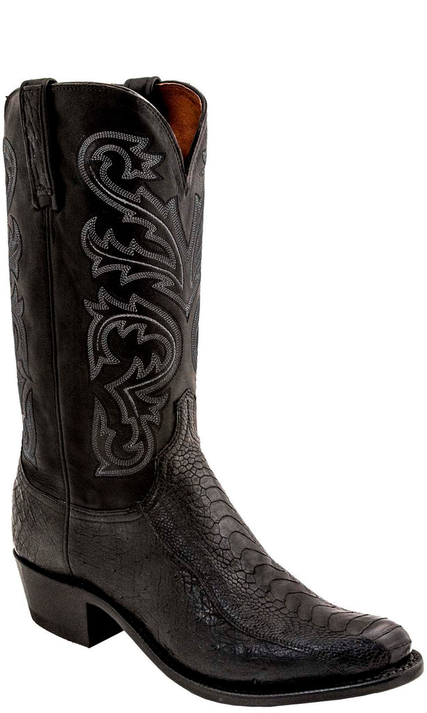 Lucchese N1147.54 NICK Mens Black Ostrich Leg Boots