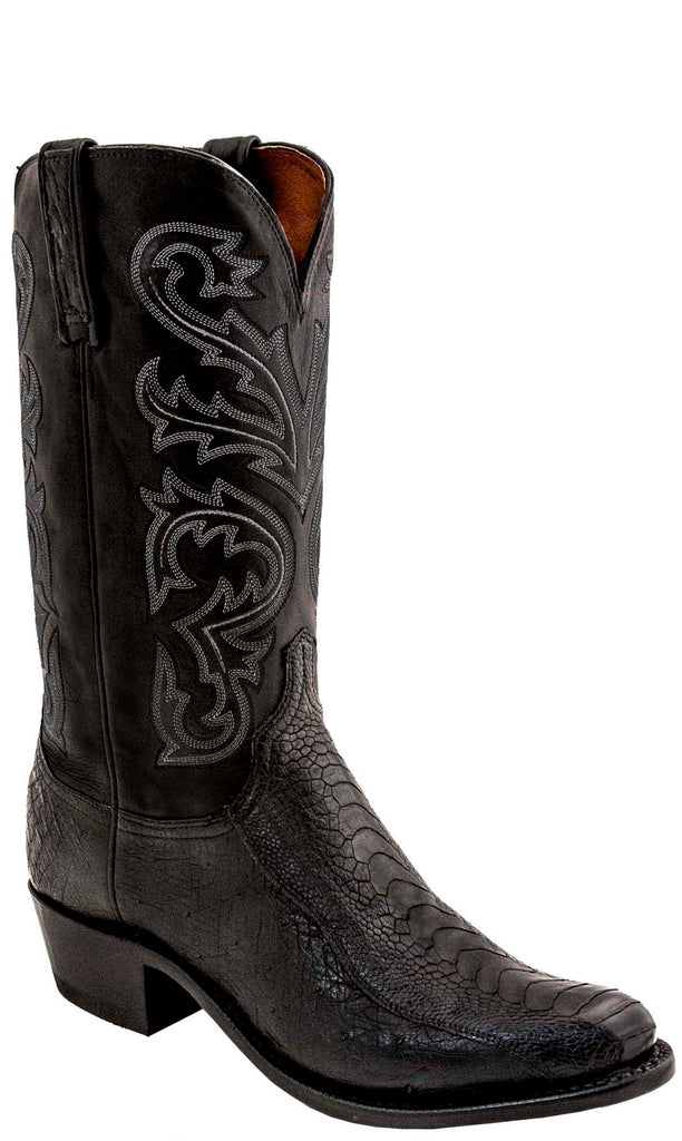 Lucchese N1147.74 NICK Mens Black Ostrich Leg Boots