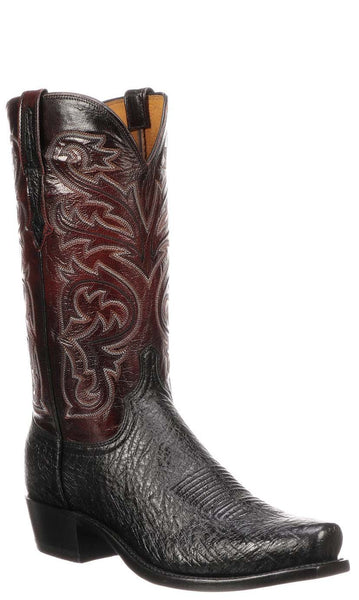 Lucchese NATHAN N1150.R4 Mens Black Smooth Ostrich Boots