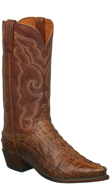 Lucchese N1151.53 FRANKLIN Mens Tan Burnished Hornback Caiman Crocodile Tail Boots
