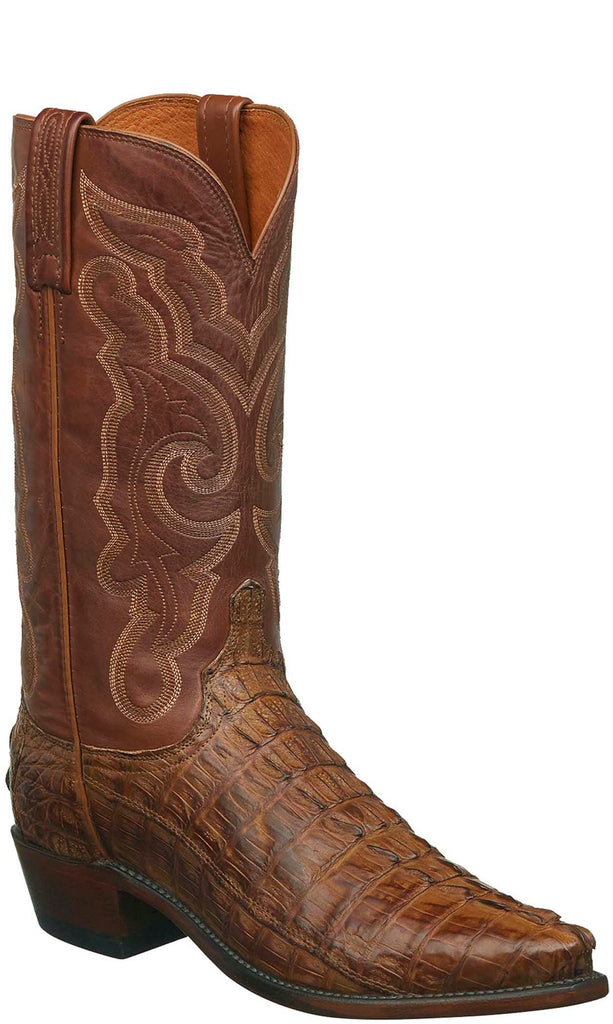 Lucchese N1151.R3 FRANKLIN Mens Tan Burnished Hornback Caiman Crocodile Tail Boots