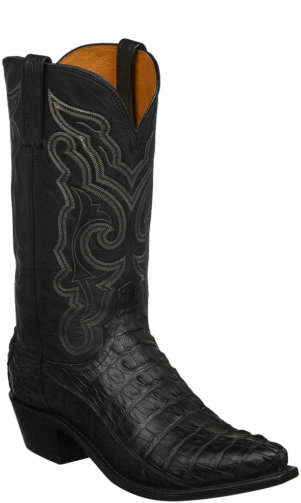 Lucchese N1152.53 FRANKLIN Mens Black Hornback Caiman Crocodile Tail Boots