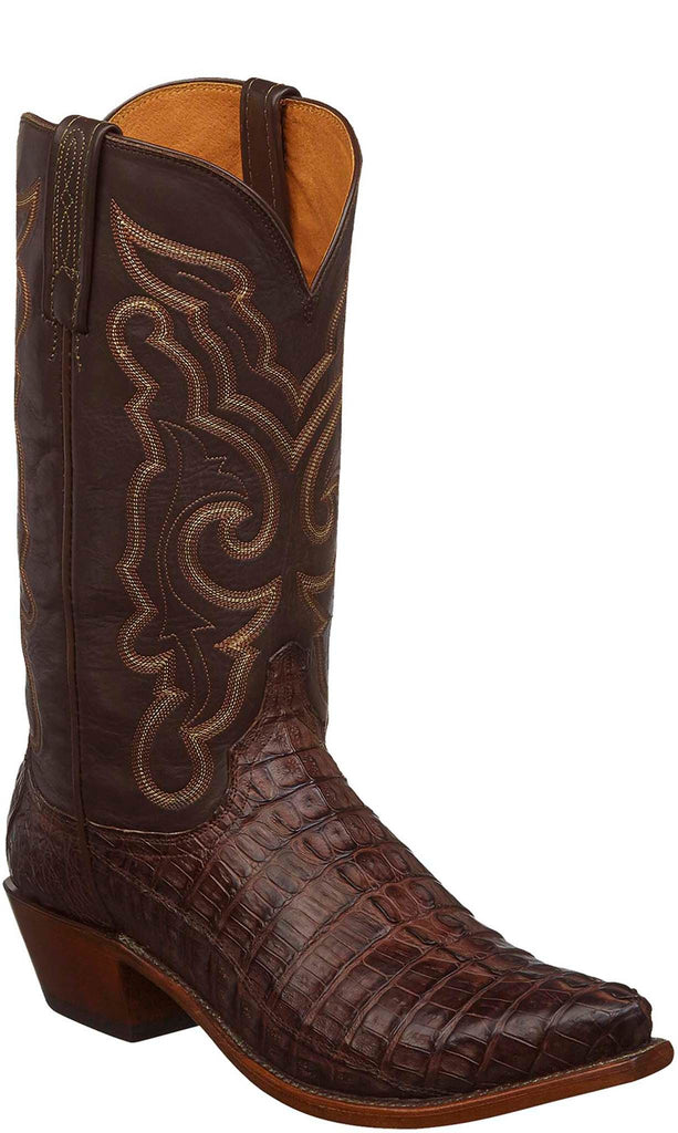 Lucchese N1153.53 FRANKLIN Mens Barrel Brown Hornback Caiman Crocodile Tail Boots