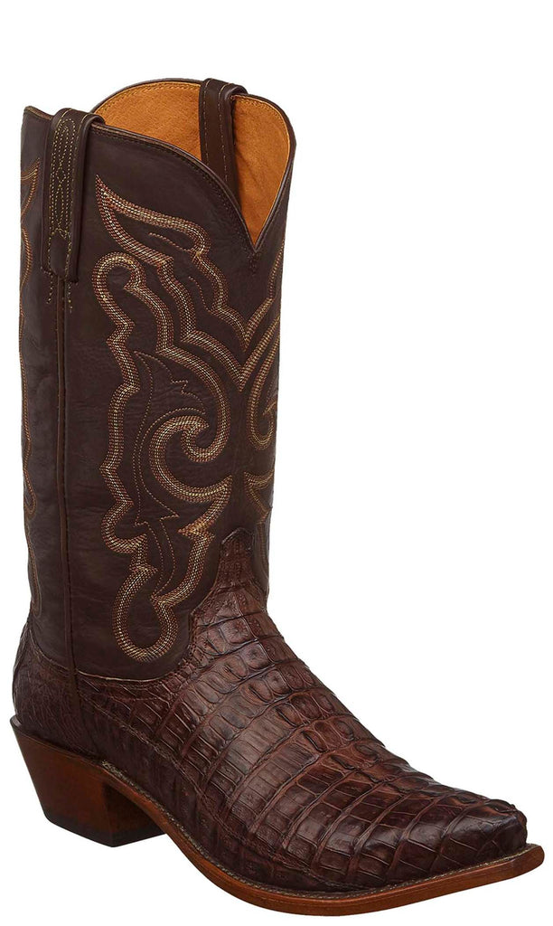 Lucchese N1153.R3 FRANKLIN Mens Barrel Brown Hornback Caiman Crocodile Tail Boots