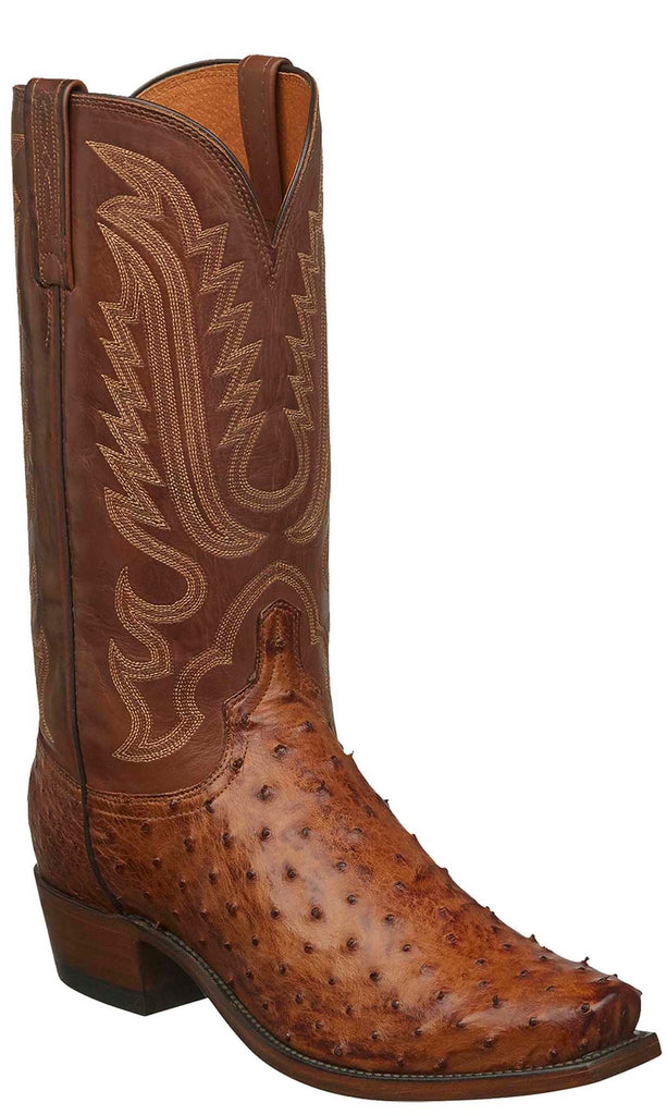 Lucchese LUKE N1156 Mens Barnwood Full Quill Ostrich Boots