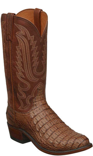 Lucchese N1157.R3 WALTER Mens Tan Burnished Hornback Caiman Crocodile Boots