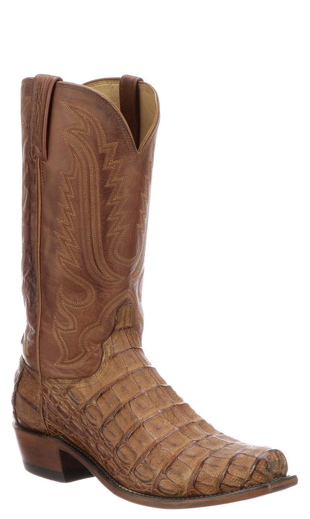 Lucchese N1157.73 WALTER Mens Tan Burnished Hornback Caiman Crocodile Boots