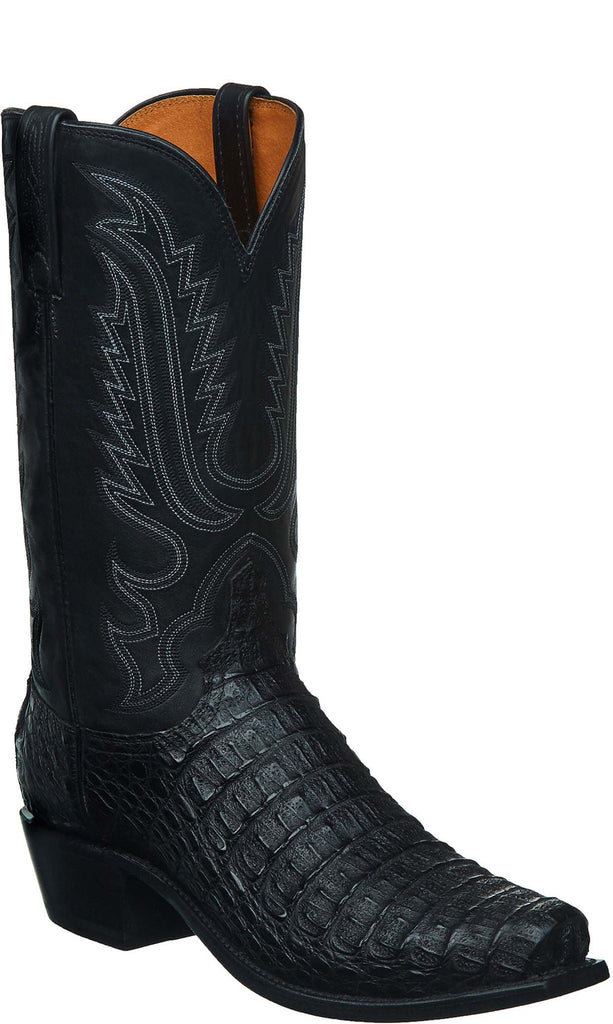 Lucchese WALTER N1158 Mens Black Hornback Caiman Crocodile Boots