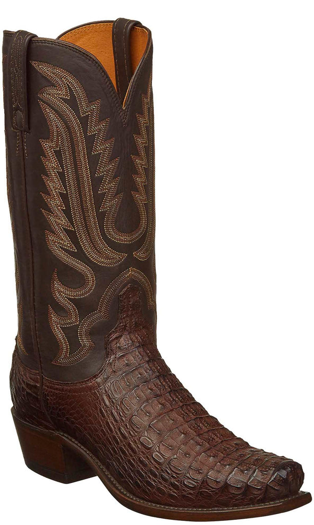 Lucchese N1159.73 WALTER Mens Barrel Brown Hornback Caiman Crocodile Boots