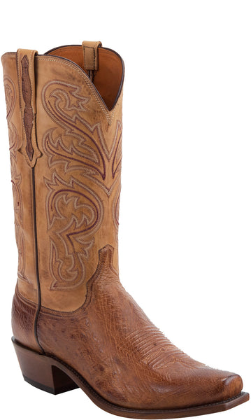 Lucchese NATHAN N1160 Mens Barnwood Burnished Smooth Ostrich Boots