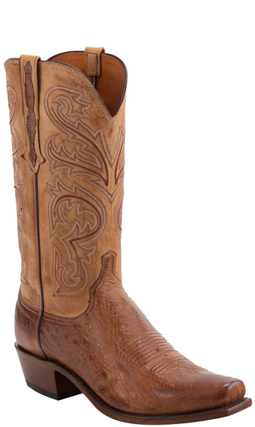 Lucchese N1160.R4 NATHAN Mens Barnwood Burnished Smooth Ostrich Boots