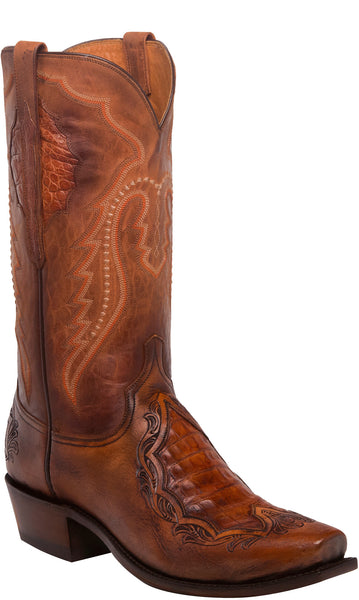 Lucchese BRYSON N1163 Mens Peanut Brittle Tooled Calfskin Boots