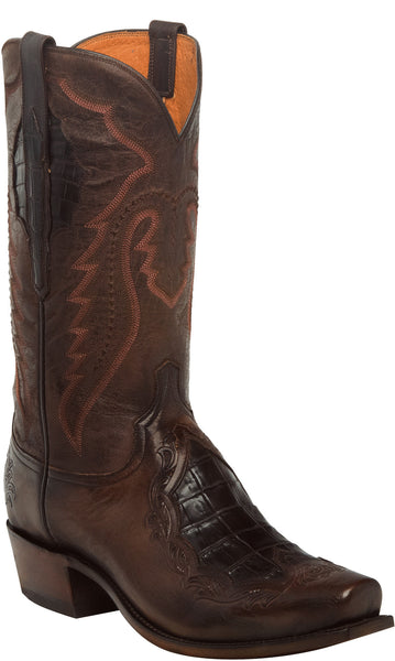 Lucchese BRYSON N1164 Mens Chocolate Tooled Calfskin Boots