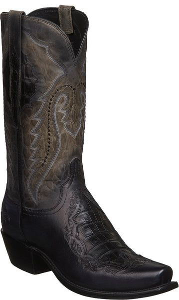 Lucchese BRYSON N1165 Mens Anthracite Grey Tooled Calfskin Boots