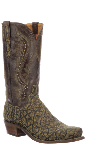 Lucchese CREIGHTON N1167 Mens Saddle Tan Iron Hide Elephant Boots