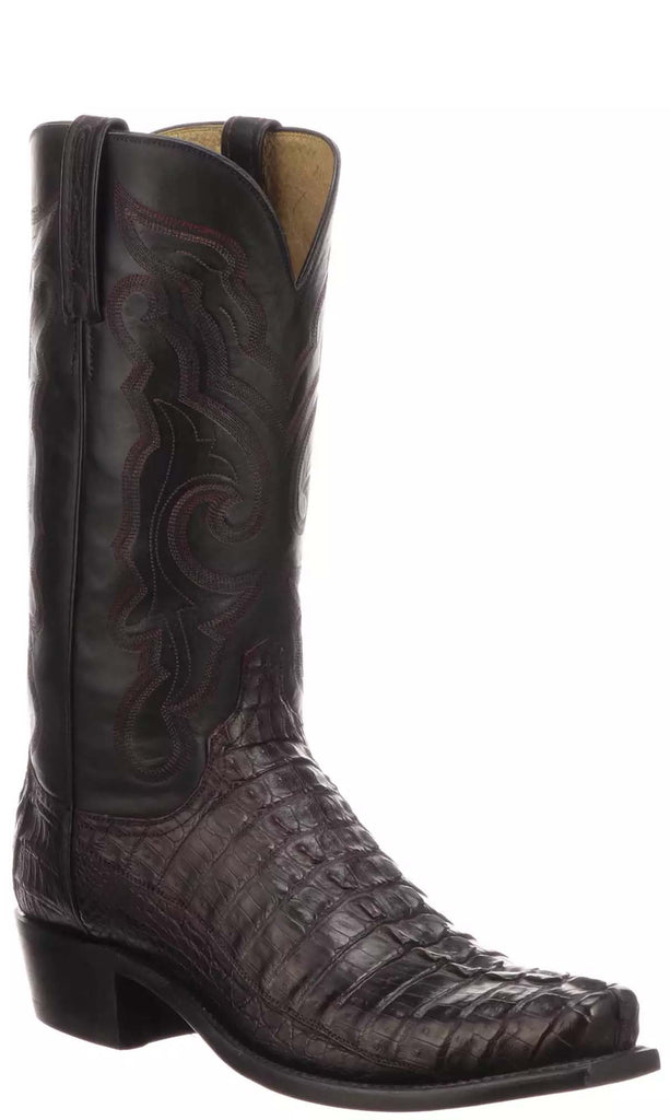 Lucchese FRANKLIN N1179.53 Mens Black Cherry Hornback Caiman Crocodile Tail Boots