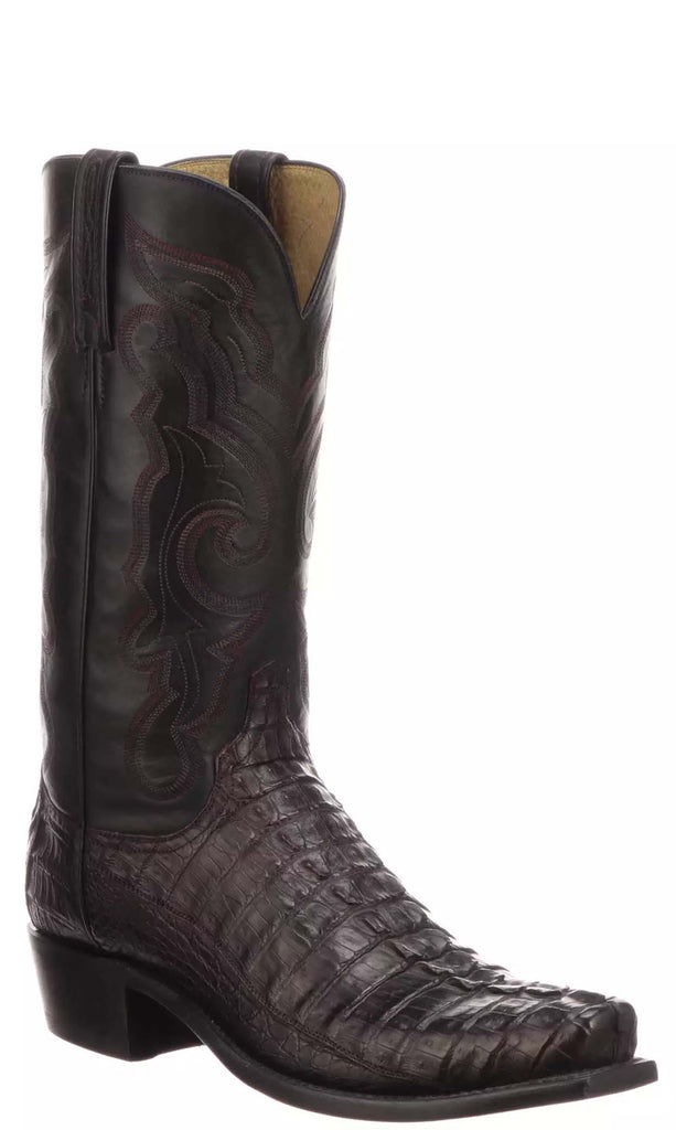 Lucchese FRANKLIN N1179.73 Mens Black Cherry Hornback Caiman Crocodile Tail Boots