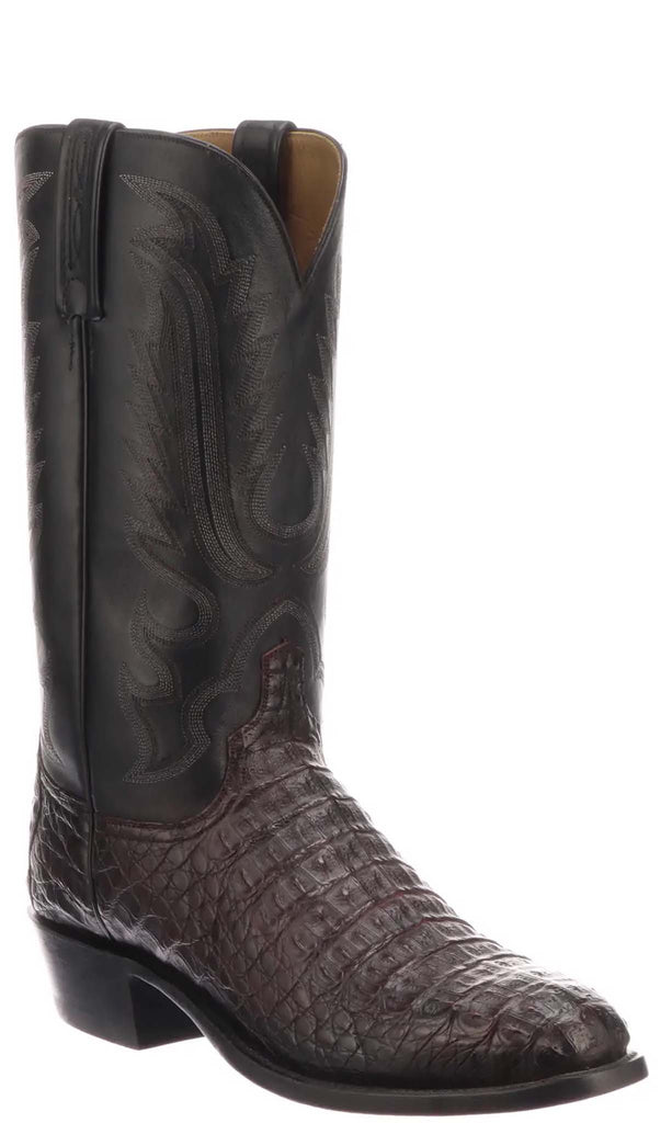 Lucchese WALTER N1180 Mens Black Cherry Hornback Caiman Crocodile Boots