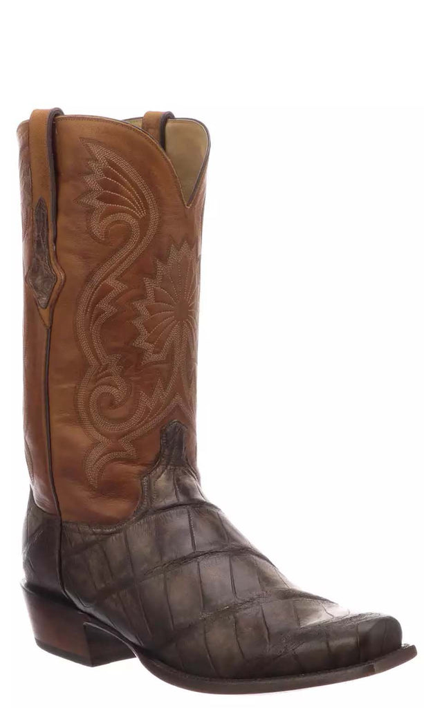 Lucchese RIO N1185.73 Mens Antique Chocolate Giant American Alligator Boots