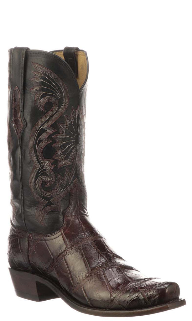Lucchese RIO N1186 Mens Black Cherry Giant American Alligator Boots