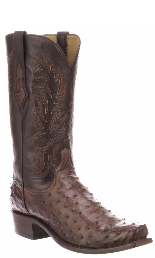 Lucchese ELGIN N1187.73 Mens Antique Chocolate Full Quill Ostrich Boots