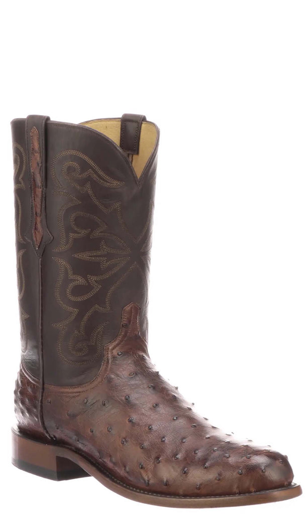 Lucchese ELGIN N1187.R3 Mens Antique Chocolate Full Quill Ostrich Boots