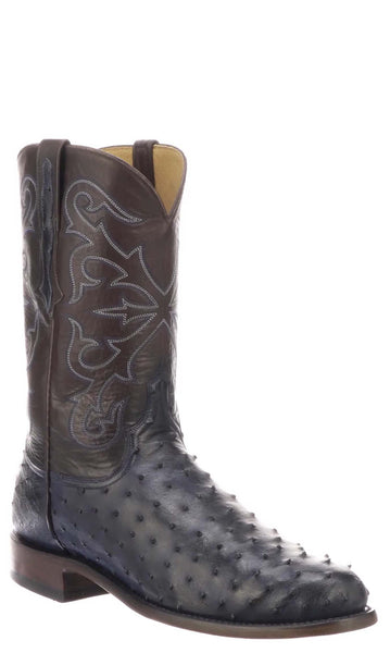 Lucchese ELGIN N1188.R3 Mens Antique Navy Full Quill Ostrich Boots