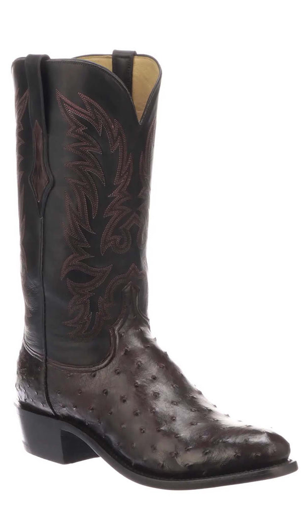 Lucchese ELGIN N1189 Mens Antique Black Cherry Full Quill Ostrich Boots