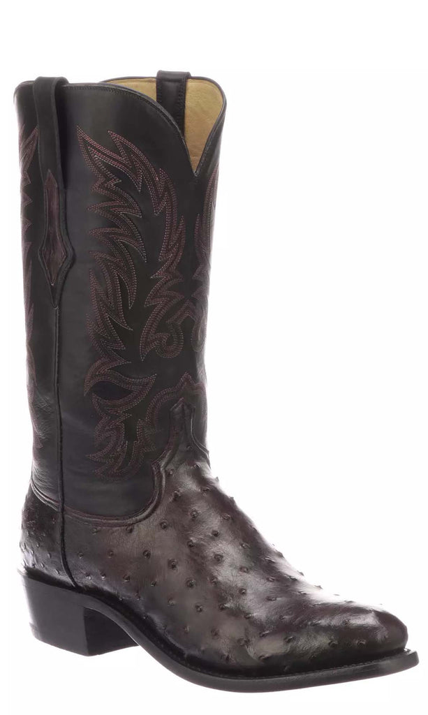 Lucchese ELGIN N1189.R3 Mens Antique Black Cherry Full Quill Ostrich Boots