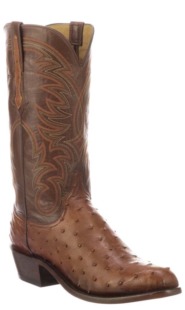 Lucchese HUGO N1193 Mens Antique Brandy Full Quill Ostrich Boots