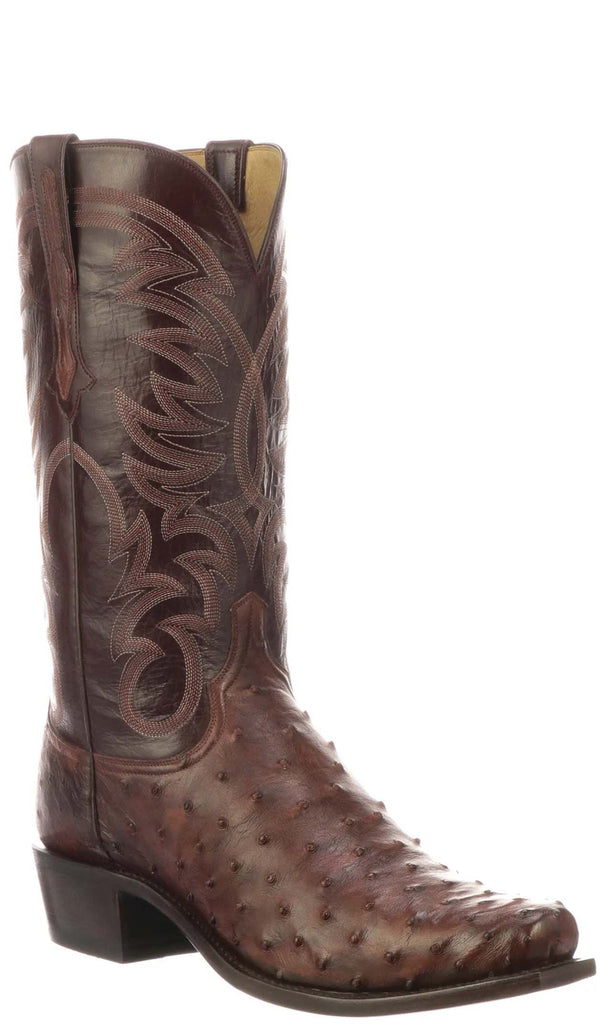 Lucchese HUGO N1194 Mens Antique Mahagony Full Quill Ostrich Boots