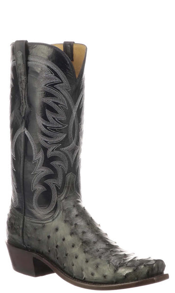 Lucchese HUGO N1195.73 Mens Antique Anthracite Grey Full Quill Ostrich Boots
