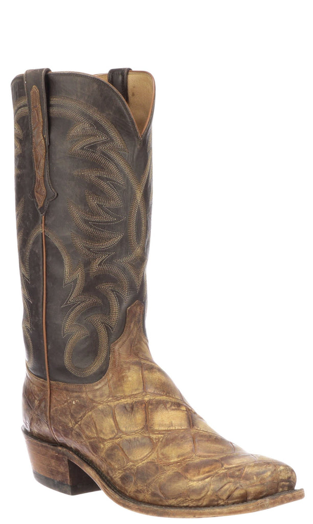 Lucchese RODNEY N1197.73 Mens Stonewashed Cognac Giant Alligator Boots