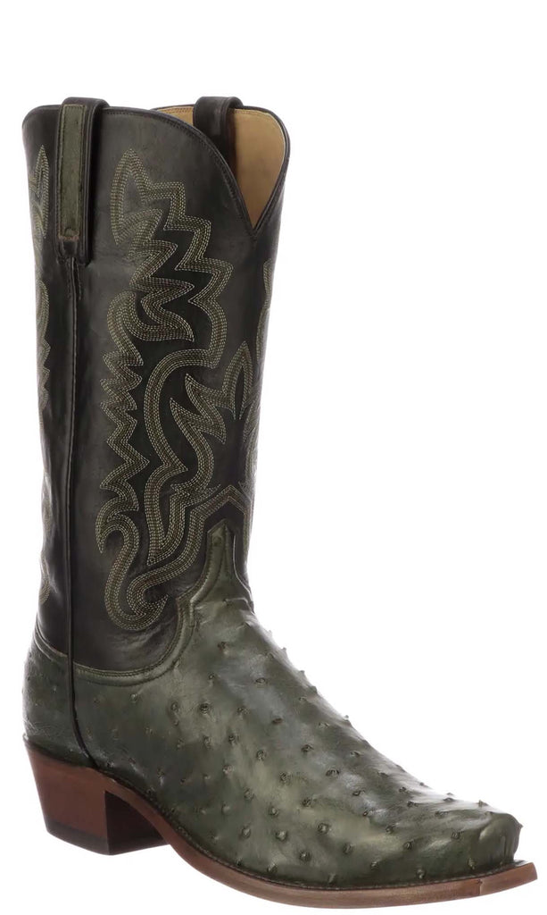 Lucchese Dante Mens Forest Green Full Quill Ostrich Boots N1202 - Made in USA