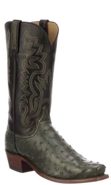 Lucchese DANTE N1202 Mens Forest Green Full Quill Ostrich Boots