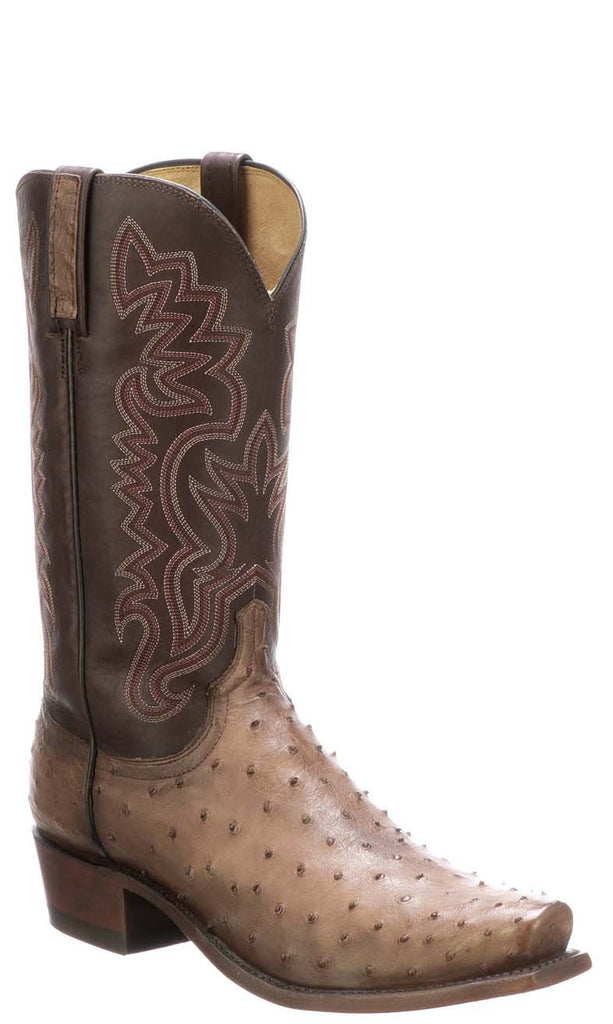 Lucchese Dante Mens Mocha Full Quill Ostrich Boots N1203.73 - Made in USA