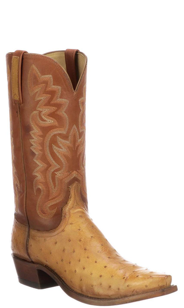 Lucchese DANTE N1204.53 Mens Butterscotch Tan Full Quill Ostrich Boots - Made in America