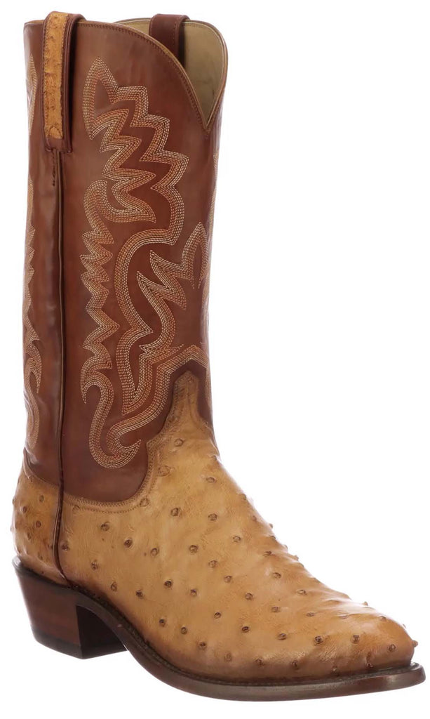 Lucchese Dante Mens Butterscotch Tan Full Quill Ostrich Boots N1204.R3 - Made in America