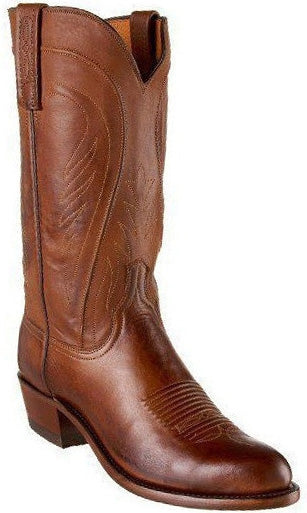Lucchese Bart Mens Tan Burnished Ranch Hand Calfskin Boots N1596