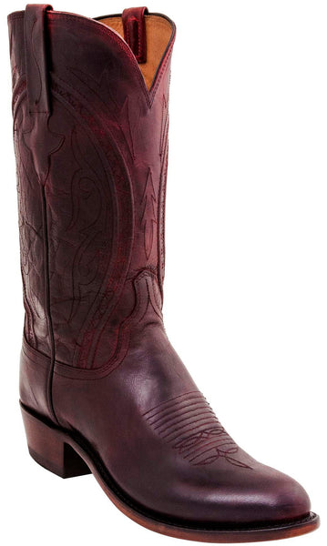 Lucchese N1658.74 CLINT Mens Antique Black Cherry Mad Dog Goat Boots