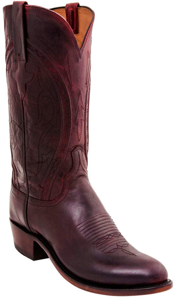 Lucchese N1658.R4 CLINT Mens Antique Black Cherry Mad Dog Goat Boots