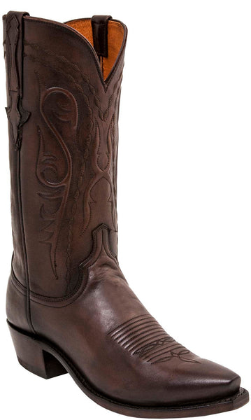 Lucchese Brandon Mens Brown Calfskin Cowboy Boots N1664 - Made in America