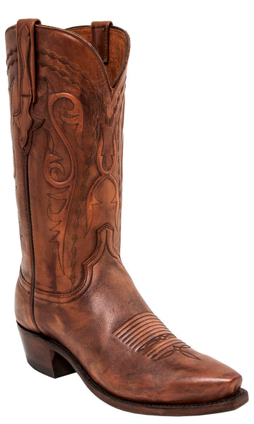 Lucchese BRANDON N1665.R3 Mens Antique Whiskey Calfskin Boots Size 8.5 D STALL STOCK