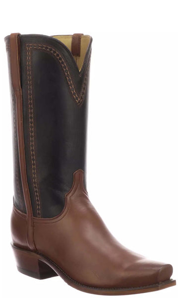 Lucchese SUTTON N1680.73 Mens Tan and Black Burnished Jersey Calfskin Boots Size 9 D STALL STOCK