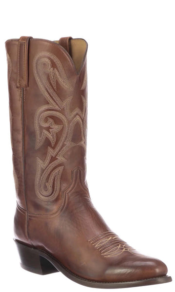 Lucchese Blake Mens Tan Ranch Hand Calfskin Cowboy Boots N1707 - Made in America