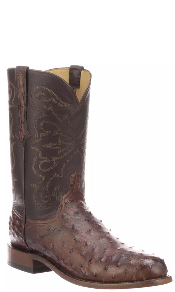 Lucchese HUDSON N3040.C2 Mens Antique Chocolate Full Quill Ostrich Boots